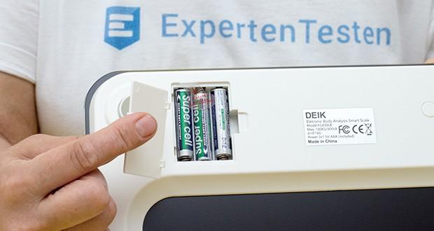 Deik Bluetooth Körperfettwaage im Test - Stromversorgung: 3 AAA 1,5V Batterien erforderlich (im Lieferumfang enthalten)