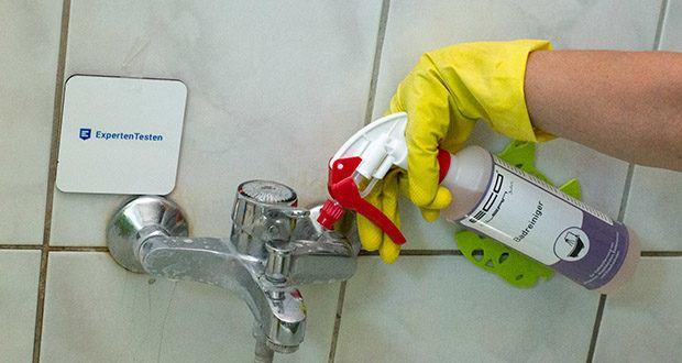ECO-Clean by LcM Badreiniger 500 ml im Test - mit dem Schaumsprühkopf den Reiniger ausreichend auf die zu reinigende Oberfläche aufsprühen und einwirken lassen