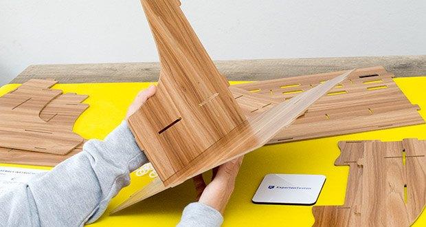 Lesfit Holz Stehsammler für Schreibtisch im Test - der Zusammenbau ging einfach und schnell