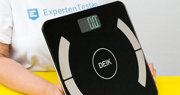 Deik Bluetooth Körperfettwaage im Test - nur das Körpergewicht ist auf dem Display direkt ablesbar, die anderen Werte werden in der App angezeigt