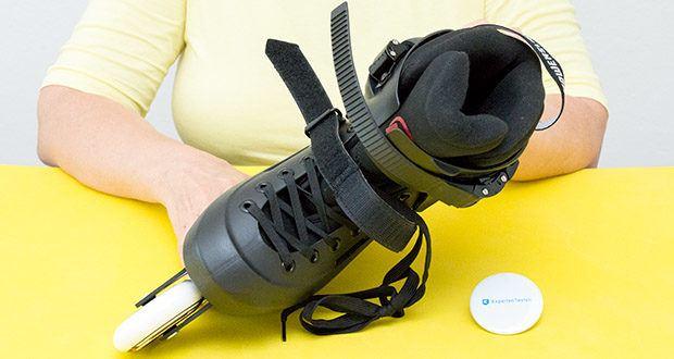 Powerslide Inlineskates Zoom Black 80 im Test - Verschlüsse: Oben - Microverstellbarer Schnellverschluß; Mitte - Klettverschluss; Unten - Schnürsenkel