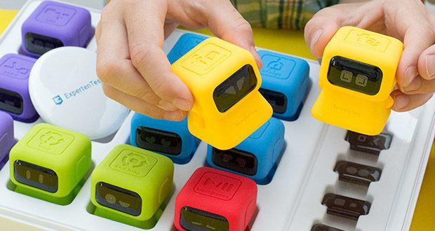 Tangiplay Coding Spielzeug im Test - Roboter 7-9 (gelb): Funktion / Funktion aufrufen; tippen und schieben Sie auf 'Funktion', um Befehle für eine der beiden Funktionen als Abkürzung aufzuzeichnen, tippen Sie dann erneut auf 'Funktion', um das M zum Stoppen der Aufzeichnung zu wählen