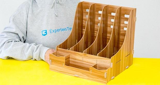 Lesfit Holz Stehsammler für Schreibtisch im Test - Produktmaße: 33x32,6x32 cm; die Breite von jeder Abschnitte ist 8cm