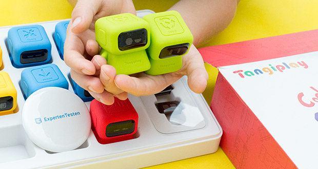 Tangiplay Coding Spielzeug im Test - Roboter 5-6 (grün): Schleife / Endschleife; tippen Sie auf den 'Loop'-Roboter und drehen Sie ihn, um Wiederholungszeiten auszuwählen