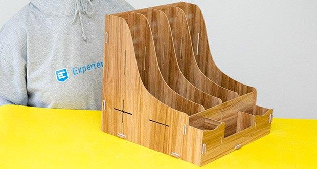 Lesfit Holz Stehsammler für Schreibtisch im Test - mit 4 Akten Ablagefächer und 3 kleine Box können Sie verschiedene Dokumenten und kleine Sache aufbewahren