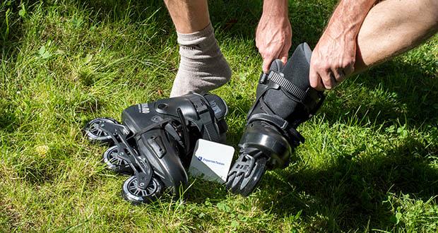 Powerslide Inlineskates Zoom Pro Black 100 im Test - bei den Verschlüssen bietet der Zoom mit der 45-Grad-Schnalle über dem Spann zudem ein hochwertiges und zuverlässiges Bauteil