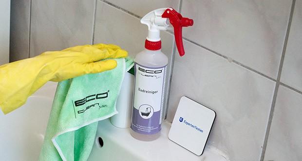 ECO-Clean by LcM Badreiniger 500 ml im Test - bei stärkeren Verunreinigungen bietet sich eine mechanische Unterstützung durch einen Reinigungsschwamm, ein Tuch oder eine Bürste an