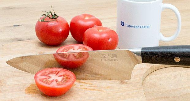 küchenspecht Kochmesser aus Damast Stahl im Test - kann von Linkshänder benutzt werden da der Griff auf beiden Seiten gleich ist