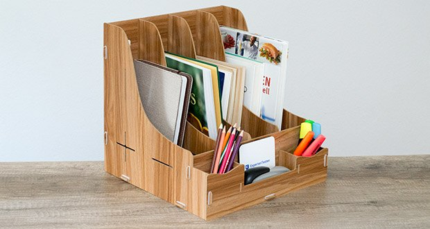 Lesfit Holz Stehsammler für Schreibtisch im Test - breite Anwendung