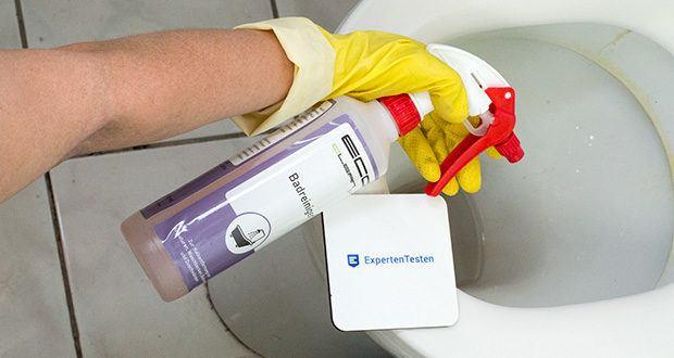 ECO-Clean by LcM Badreiniger 500 ml im Test - nach der Reinigung die Fläche mit Wasser abspülen