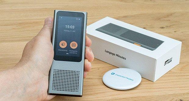 Langogo Minutes Sprachübersetzer und Diktiergerät im Test - ist der Übersetzungsmodus eingestellt, wird das gesprochene Wort erkannt sowie auf dem Display angezeigt, in die ausgewählte Zielsprache übersetzt und laut ausgesprochen