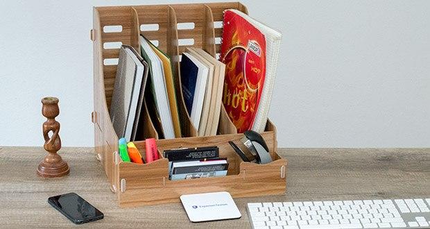Lesfit Holz Stehsammler für Schreibtisch im Test - 7 Fächer zum Aufbewahren von Akten, Dokumenten, Stifte, Briefpapier, usw.