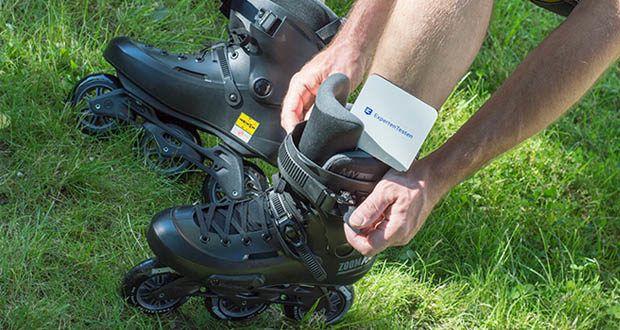 Powerslide Inlineskates Zoom Pro Black 100 im Test - mit einem wärmeverformbaren Innenschuh ausgestattet