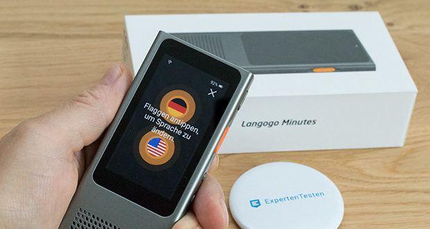 Langogo Minutes Sprachübersetzer und Diktiergerät im Test - nachdem Sie die beiden Sprachen, die miteinander übersetzt werden sollen, eingerichtet haben, erkennt es automatisch die gesprochene Sprache und übersetzt es sie sofort in die Zielsprache