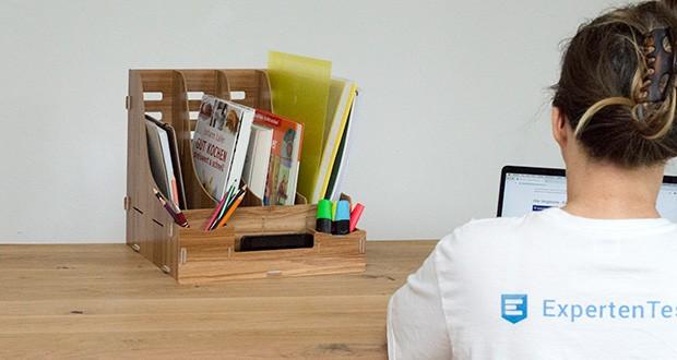 Lesfit Holz Stehsammler für Schreibtisch im Test - macht Ihr Tisch ordentlich und schön sauber