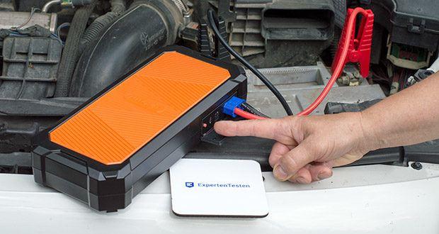 Autowit SuperCap 2 Starthilfe im Test - drücken Sie die Netztaste, um den Entladungs-Countdown für 10 Sekunden zu starten
