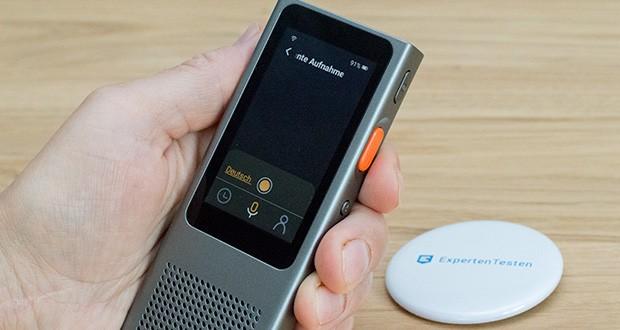 Langogo Minutes Sprachübersetzer und Diktiergerät im Test - stellen Sie den Rekorder-Modus ein, wird das Audio aufgezeichnet, erkannt und in Echtzeit transkribiert
