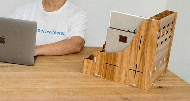 Lesfit Holz Stehsammler für Schreibtisch im Test - hochwertiges Produkt aus Holz