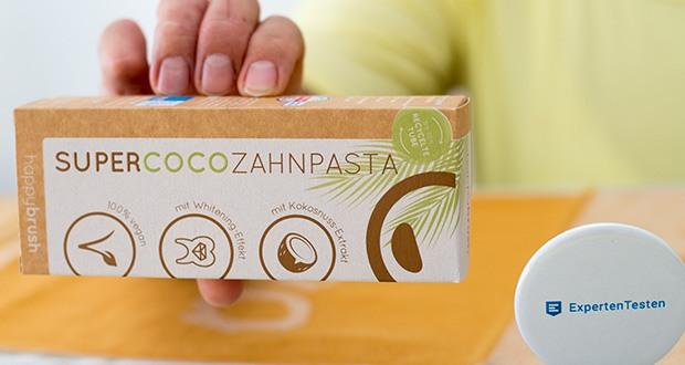 happybrush Zahnpasta SUPERCOCO im Test - eine leckere Formel mit Kokosnuss-Extrakt bringt Zahnstein und Plaque auf die Palme