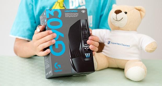 Logitech G903 LIGHTSPEED kabellose Gaming-Maus im Test - mit dem zusätzlichen kabellosen POWERPLAY Ladesystem bleiben die G903 und andere kompatible G-Mäuse beim Spielen und in Spielpausen immer voll geladen