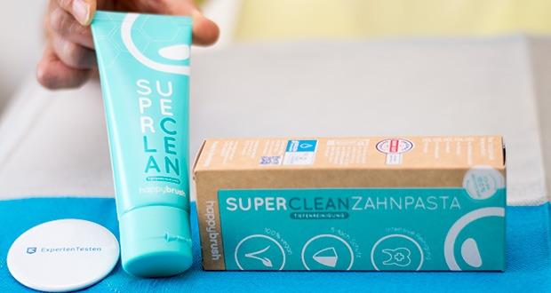 happybrush Zahnpasta SUPERCLEAN im Test - Xylitol schützt Deine Zähne vor Karies - bye, bye Plaque und Zahnstein