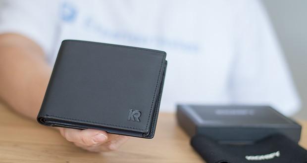 KRONIFY Herren Geldbörse im Test - Maße: 11 x 9,6 x 2cm (geschlossen und leer); Material: Premium Rindsleder