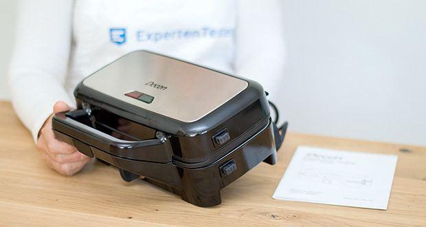 Decen Sandwichmaker im Test - ist kompakt (26 x 12,6 x 10,3 cm), kann getragen und platzsparend horizontal und vertikal gelagert werden