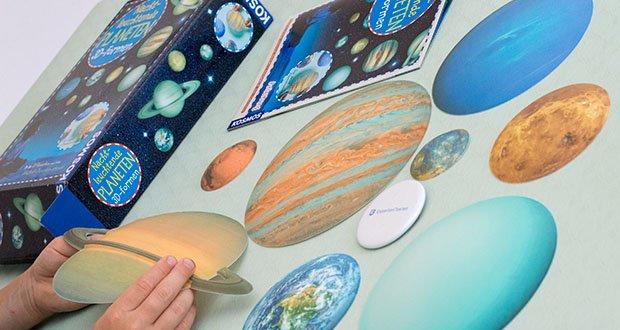 KOSMOS Nachtleuchtende Planeten im Test - die leicht gewölbten 3D-Planetenformen sind farblich den echten Planeten nachempfunden
