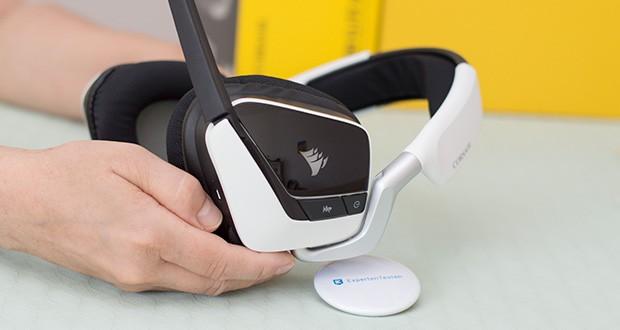 Corsair Void Elite RGB Gaming Headset im Test - drahtlose Reichweite des Kopfhörers: Bis zu 12 m ; Impedanz: 32 kOhm bei 1 kHz