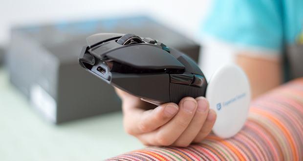 Logitech G903 LIGHTSPEED kabellose Gaming-Maus im Test - durch das konfigurierbare Tasten-Layout lässt sich die Maus sowohl für Rechtshänder als auch für Linkshänder anpassen