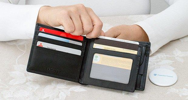 KRONIFY Herren Geldbörse im Test - 13 Kartenfächer bieten reichlich Platz