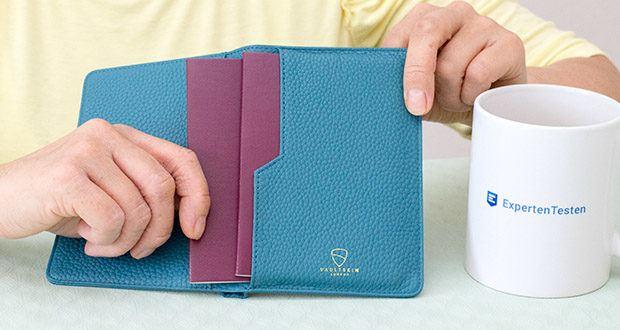 Vaultskin Kensington Reisepasshülle im Test - lange Außentasche für Bordkarte / Banknoten, die auch zwei Geheimfächer für einfachen Zugriff auf Ihre 2 am häufigsten verwendeten Bankkarten / Reisepass hat