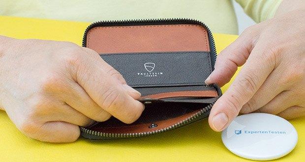 Vaultskin Notting Hill Geldbörse im Test - der sichere und hochwertige Metallreißverschluss, das Münzfach und der starke Schlüsselhaken schützen alles, was Sie unterwegs benötigen