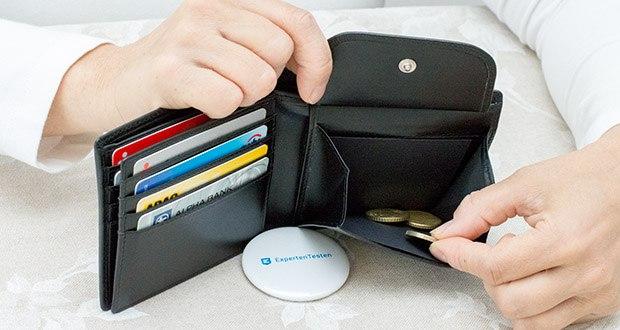 KRONIFY Herren Geldbörse im Test - das große Münzfach wird durch einen Druckknopf sicher verschlossen