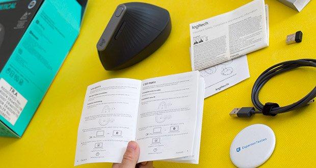 Logitech MX Vertical Bluetooth Maus im Test - ermöglicht das Aufbauen einer Verbindung mit bis zu drei Computern, sowie ein Umschalten zwischen diesen Geräten mit nur einem Tastendruck oder durch Bewegen des Cursors von einem PC-Bildschirm zum anderen mit Logitech FLOW