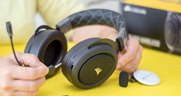 Corsair HS70 Pro Wireless Gaming Headset im Test - das abnehmbare Mikrofon blendet für verbesserte Sprachqualität Umgebungsgeräusche aus