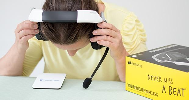 Corsair Void Elite RGB Gaming Headset im Test - die Ohrpolster aus atmungsaktivem Mikrofasergewebe und Memory-Schaumstoff sind für dauerhaften Tragekomfort bei langen Gaming-Sessions ausgelegt