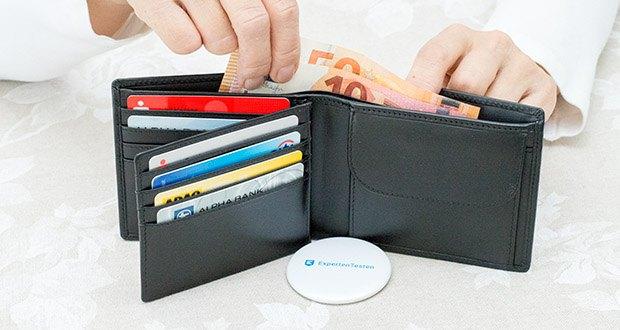 KRONIFY Herren Geldbörse im Test - der integrierte NFC und RFID Blocker des Portmonee schützt Sie vor Datendiebstahl