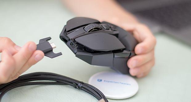 Logitech G903 LIGHTSPEED kabellose Gaming-Maus im Test - der Akku reicht bis zu 140 Stunden mit LIGHTSYNC RGB-Beleuchtung und bis zu 180 Stunden ohne Beleuchtung