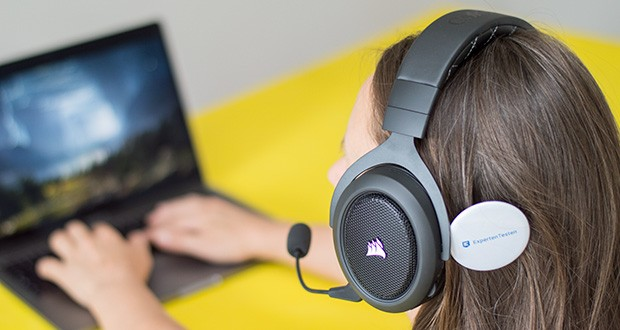 Corsair HS70 Pro Wireless Gaming Headset im Test - die hochwertigen speziell abgestimmten 50-mm-Neodym-Lautsprechertreiber liefern die volle Soundreichweite für das Geschehen auf dem virtuellen Schlachtfeld