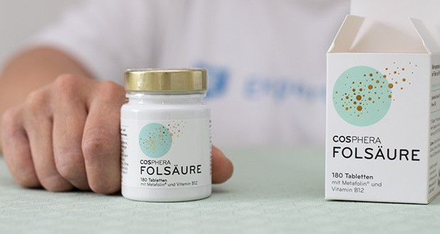 Cosphera Folsäure Tabletten im Test - aufgrund optimal abgestimmten Kombination wird dieses Nahrungsergänzungsmittel von Frauenärzten bei Kinderwunsch, während der Schwangerschaft und in der Stillzeit empfohlen