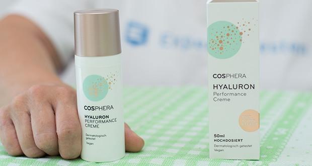 Cosphera Hyaluron Performance Creme im Test - enthält einen einzigartigen, hochdosierten Wirkstoffkomplex, der reife, trockene Haut und Mischhaut ideal mit Feuchtigkeit versorgt und Sie jünger und frischer aussehen lässt