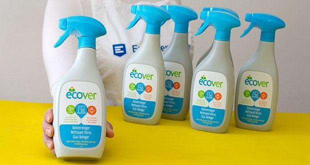 Ecover Glas- und Fenster-Reiniger im Test - dank kraftvoller Bio-Tenside ist er stark gegen Fettspuren