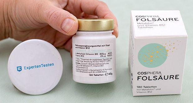 Cosphera Folsäure Tabletten im Test - Inhaltsstoffe: Mikrokristalline Cellulose, Vitamin B9 (Metafolin®), Vitamin B12 (Methylcobalamin)