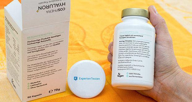 Cosphera Hyaluronsäure Kapseln im Test - Bestandteile: Hyaluronsäure Pulver (mit ca. 90% Natrium Hyaluronat), Hydroxypropylmethylcellulose (Kapselhülle), Hagebutten Extrakt 25-30:1, Zinkcitrat, Vitamin B12 (Methylcobalamin), Grapefruit Extrakt, Citrus-Bioflavonoide, Natriumtetraborat (2,5 mg Bor pro Kapsel, Borax Konzentration >= 0,3 %)