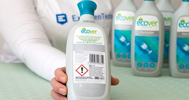 Ecover Ökologischer Klarspüler für Geschirrspülmaschinen im Test - alle Inhaltsstoffe sind vollständig biologisch abbaubar