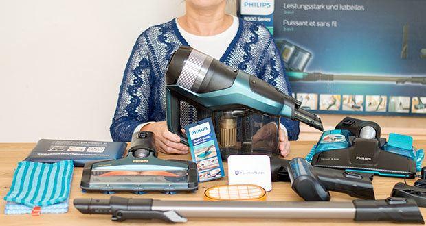 Philips XC8147/01 SpeedPro Max Aqua Staubsauger mit Wischfunktion im Test - Set enthält: 1 Akku-Staubsauger, Standarddüse: 360°-Saugdüse, Zubehör: Fugendüse, Mikrofaserpolster, Integrierte Bürste, Separater Ersatzfilter, Verlängerungsschlauch Zusatzbürste: Mini-Turbo-Saugbürste, AquaDüse
