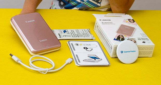 Canon Zoemini Mini Fotodrucker im Test - Lieferumfang: 1 Packung ZINK Fotopapier (10 Blatt Fotopapier und 1 SMART SHEET) Micro-USB-Ladekabel (USB A auf Micro), Kurzanleitung