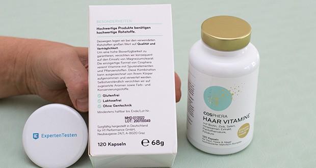 Cosphera Haar Vitamine im Test - pflanzlich, GVO-frei, glutenfrei, biozertifiziert, vegan, laktosefrei