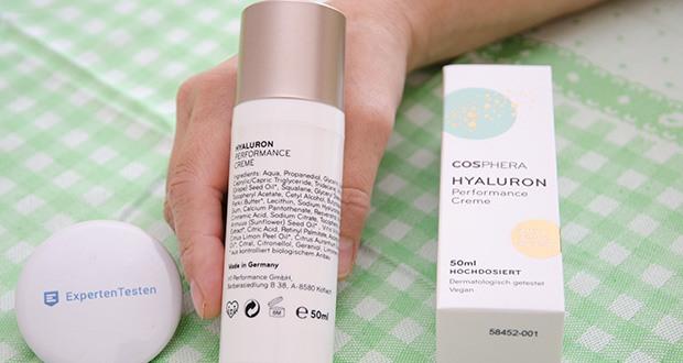 Cosphera Hyaluron Performance Creme im Test - enthält Hyaluronsäure, Retinol, Bio Shea-Butter, Bio OPC, natürliches Vitamin E, Lecithin, Resveratrol, Bio Traubenkernöl und weitere Wirkstoffe